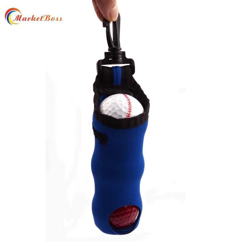 Hot Sale Elastic Mini Golf Bag Balls Tees Holder With Hook Portative Outdoor Blue Waist Pouch