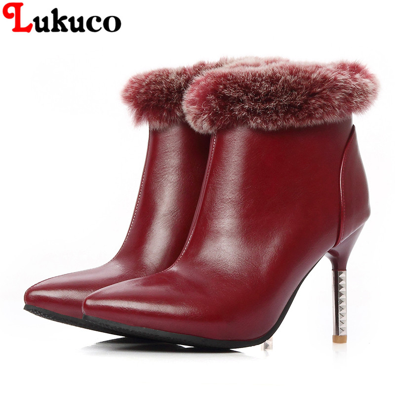 2018 NEW elegant style women ANKLE boots large size 36 37 38 39 40 41 42 43 FUR design high quality real pictures free shipping