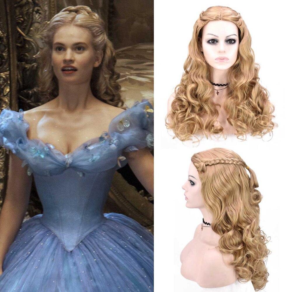 Adult Women Cinderella Wig Moive 2015 Cinderella Cosplay Plait Long Wave Hair Historical Reenactment Costume Princess Wig