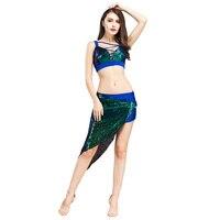 New design top grade Women belly dance Showgirl dancer costume Sexy Night dance bellydance Top Bar+skirt 2pcs set