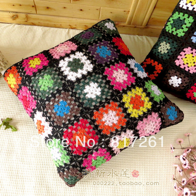Free shipping colorful square cotton crochet cushion cover 100 ...