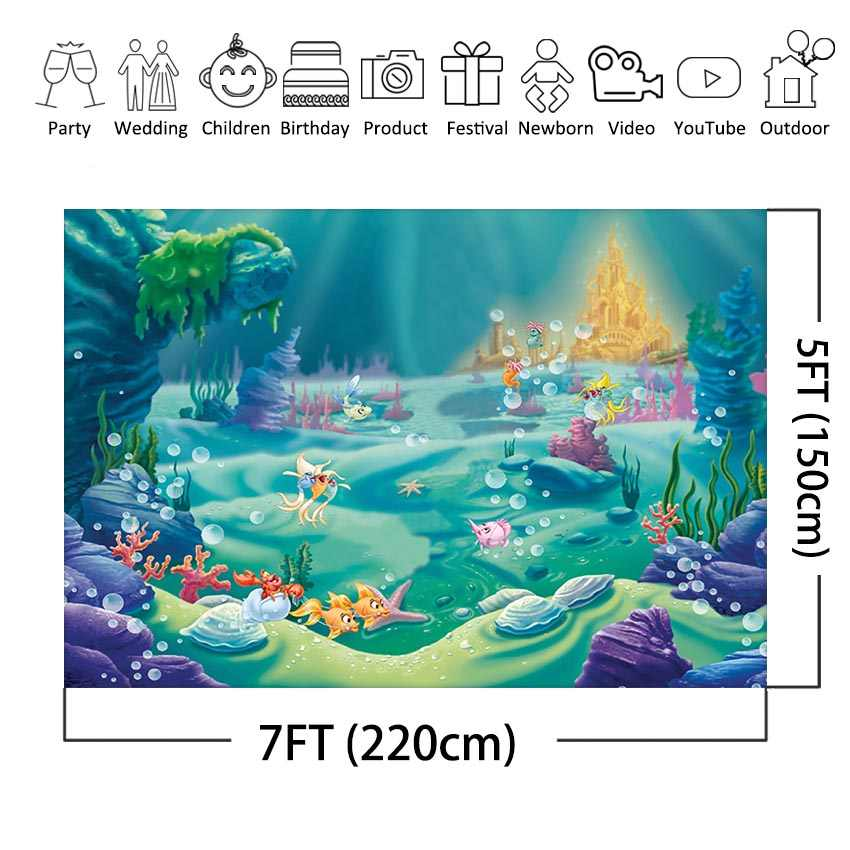Under Sea Bed Photography Backdrop Corals Ariel Princess Little Mermaid Baby Birthday Party Decorations Banner Photo background