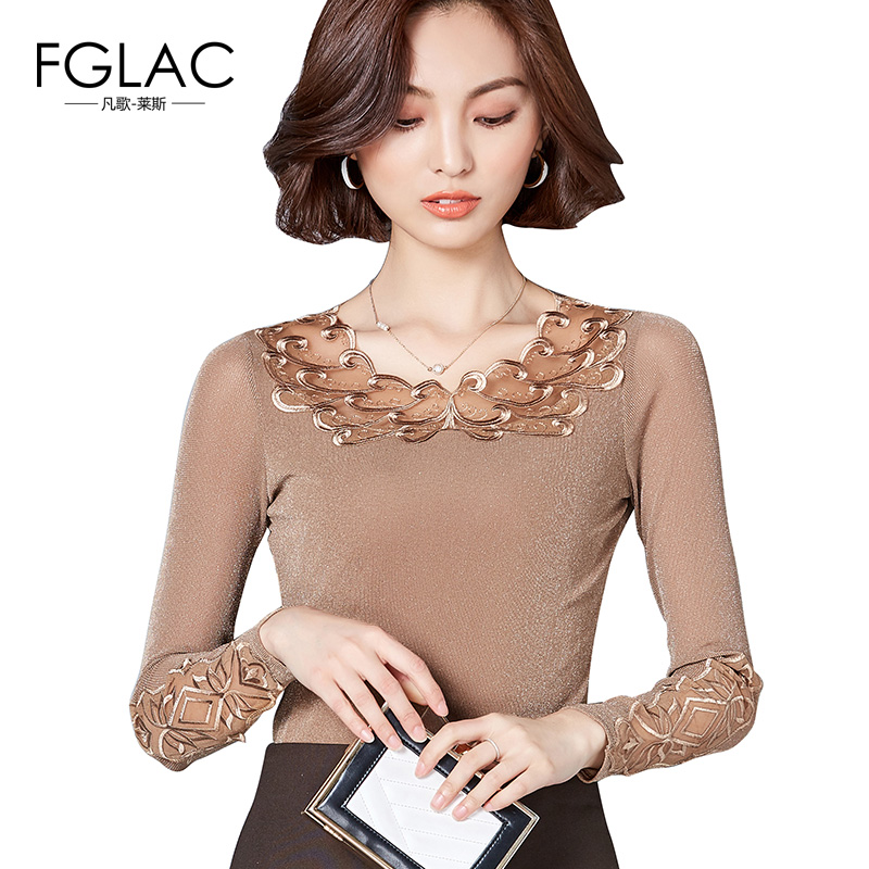 FGLAC Women   blouse     shirt   New Arrivals 2018 spring long sleeved lace   shirt   Elegant Slim hollow out lace tops plus size women tops