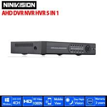 Super 4CH AHD DVR 1080N AHD-NH Full HD HDMI 1080 P Vídeo gravador H.264 CCTV Câmera de Rede Onvif 4 Canais NVR IP Multilanguage