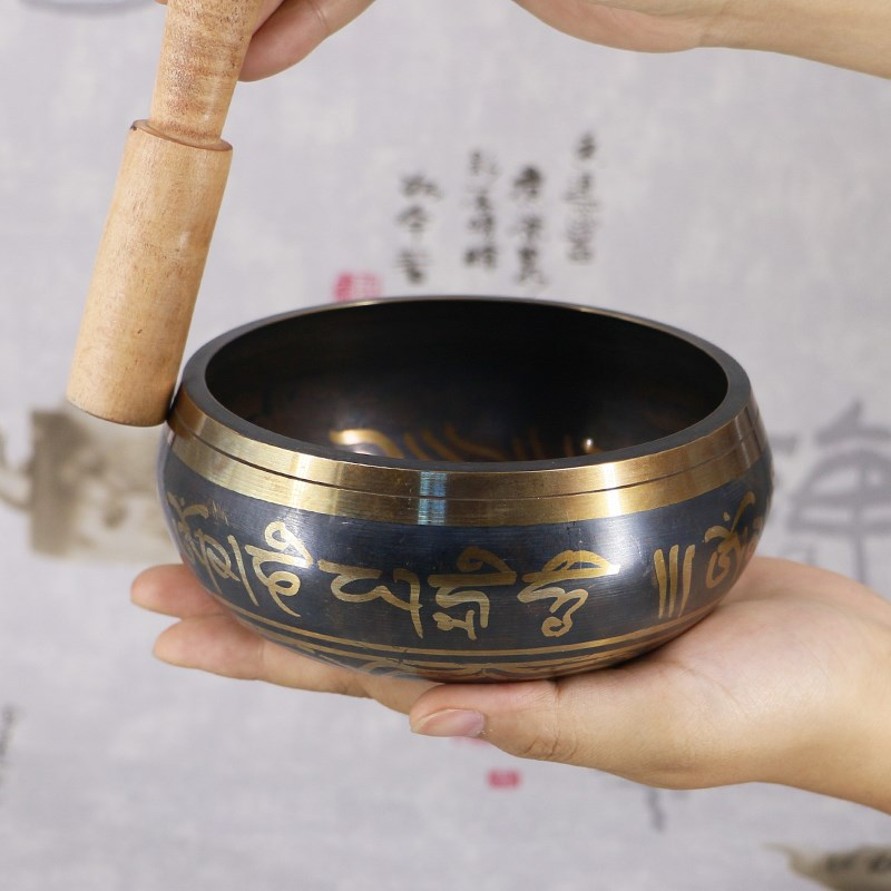 Himalayan Hand Bowl Decorative Chakra Meditation Wall Dishes Yoga Tibetan Buddhist Brass Singing Bowl Buddhist Supplies Tibetan