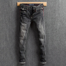 Fashion Classical Men Jeans Black Gray Color Slim Fit Distressed Denim Pants Ripped Jeans Men Brand Designer Vintage Jeans Homme