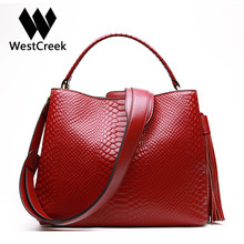 Westcreek Marke Echtes Leder Luxus Designer Handtaschen Frauen Mode Quaste Serpentin Tote Weibliche Haspe Umhängetasche