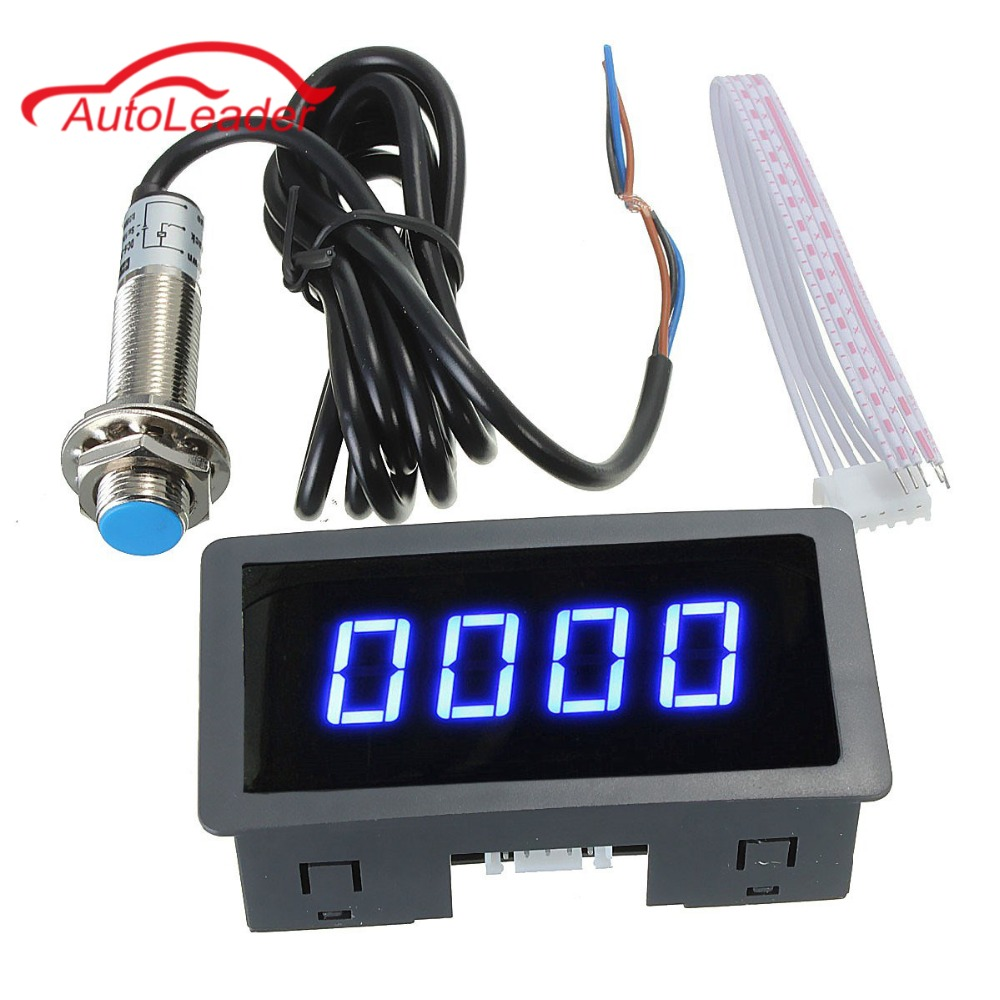 4 Digital LED Blue Tachometer RPM Speed Meter+Hall Proximity Switch Sensor NPN