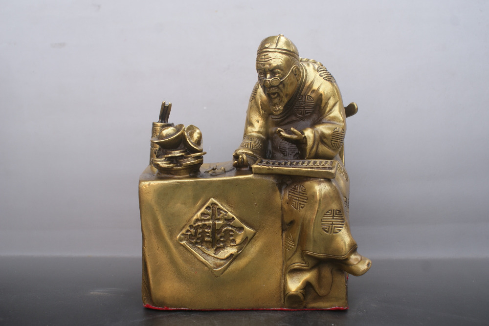 Chinese old  bronzes Statue Mr. accountant  copper StatueChinese old  bronzes Statue Mr. accountant  copper Statue