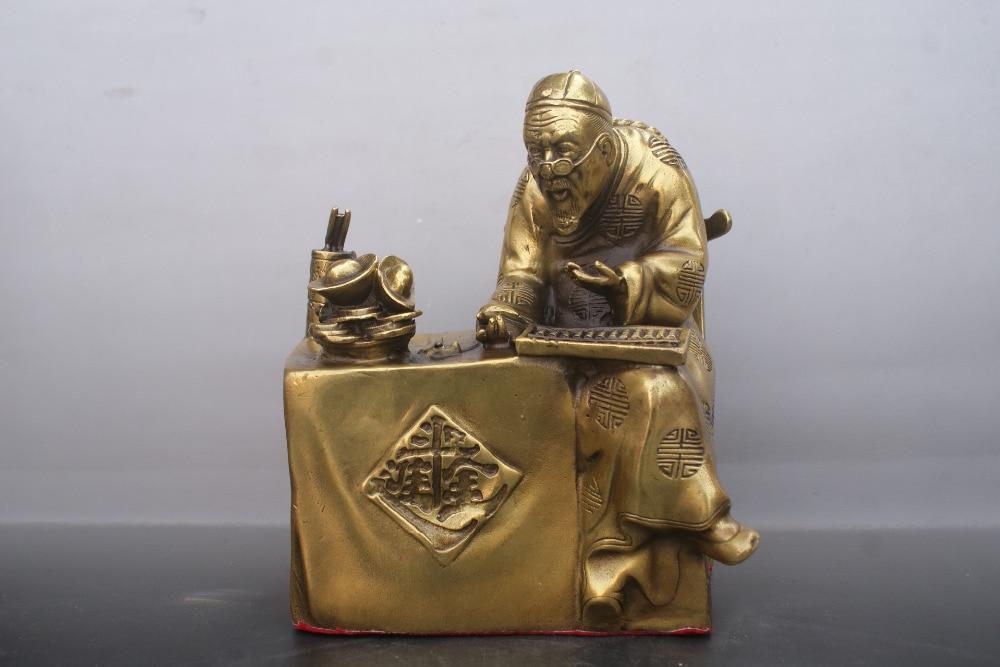Vieux bronzes chinois Statue monsieur comptable Statue en cuivreVieux bronzes chinois Statue monsieur comptable Statue en cuivre