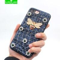 LoveCase lüks kadınlar 3D metal arı Parlaklık telefon kılıfı iphone 7 artı moda coque iPhone 7 8 6 S Artı arka kapak kılıfları için