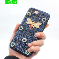 LoveCase Luxury Women 3D Metal Bee Shine Phone Case For Iphone 7 Plus Fashion Coque For