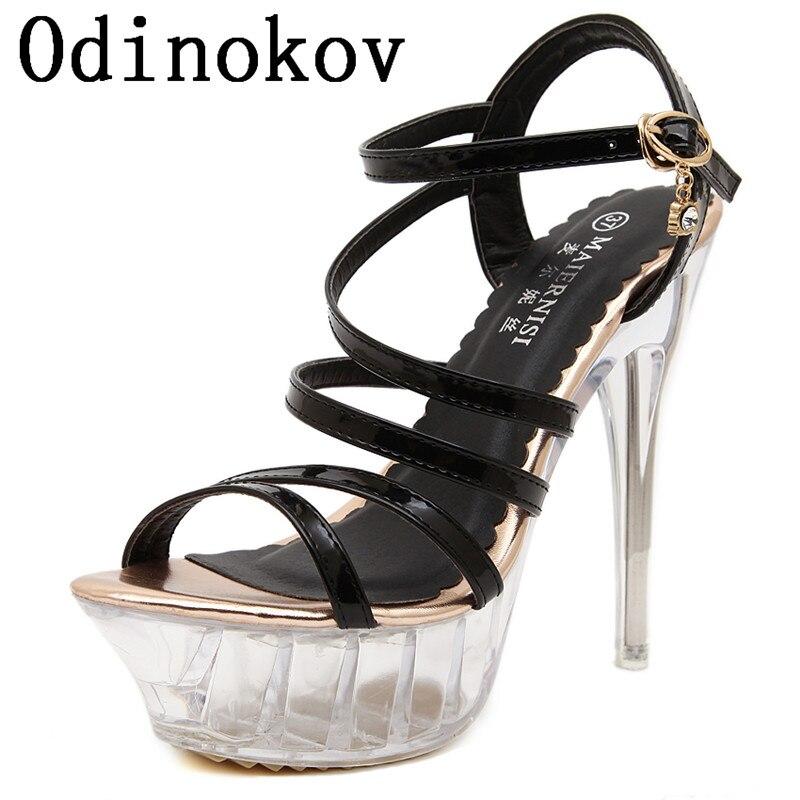 ФОТО 14 cm Heels Valentine Shoes  High Heels Studded Stiletto Black Heels Sandals Pumps Shoes Woman Ladies Sexy Shoes EU Size 35-43