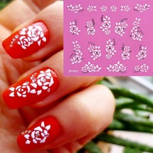 fashion 3D flower design Water Transfer Nails Art Sticker decals lady women manicure tools Nail Wraps Decals wholesale XF001