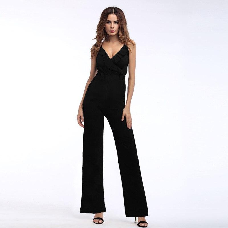 2019 New   Jumpsuits   Women Rompers Sleeveless Floral Printed Spaghetti Strap Ruffles Elegant Office Ladies Long Pants Streetwears