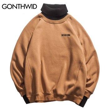 GONTHWID False 2 Piece Turtleneck Fleece Hoodies Hip Hop Casual Streetwear Sweatshirts 2018 Men Women Fashion Male Hoodie Tops Водолазка