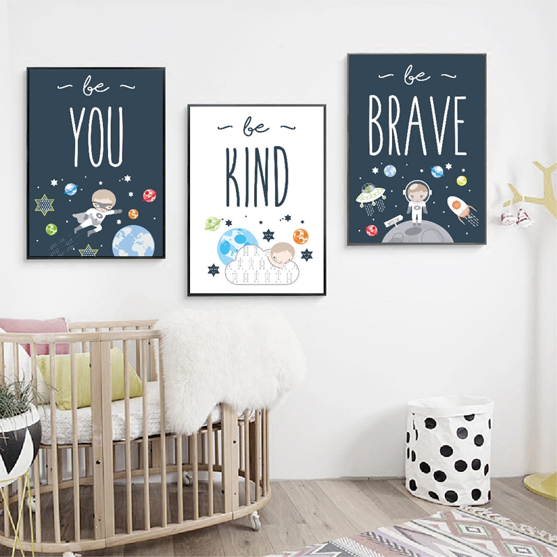 Space themed wall art print kids room decor