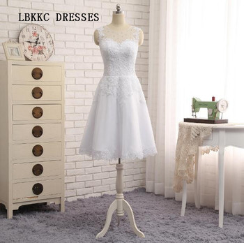 Elegant Sleeveless Short Wedding Dress Knee Length Tank Bridal Gowns Beaded Short Prom Gown Appliqued Short Bride Dress