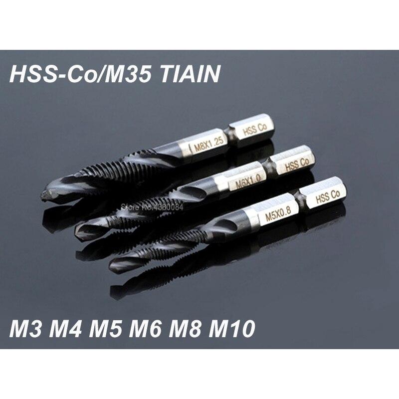 6 Pcs Conjunto Complexo de Cobalto HSS Spiral Apontado Torneiras M35 TIALN Aço Inoxidável Tocando Ferramenta Chamfering Hex Shank Metric M3 m4 M5 M6 M