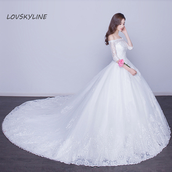 Vestido De Noiva Boat Neck Half Sleeves Wedding Dresses  Sweep Brush Train Lace Edge Vintage Embroidery Lace Bridal Gowns
