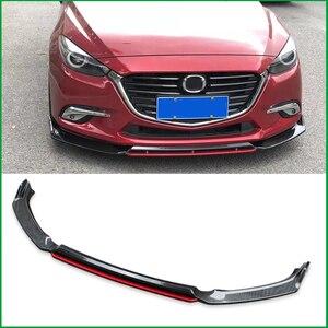 Для Mazda 3 M3 Axela 2014-2018 передний бампер спортивный стиль для губ нижние вентиляционные решетки и диффузоры защитная пластина спойлер комплект д...