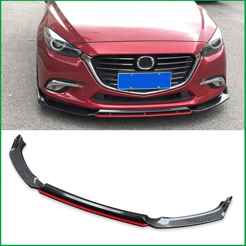 For Mazda <font><b>3</b></font> M3 Axela 2014-2018 Front Bumper Sport Style Lip Lower Grille Diffuser Protector Plate Spoiler Body Kit Cover Trim image