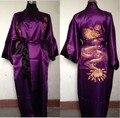 Envío libre Púrpura negro Reversible Dos Caras de Los Hombres Chinos de Satén de Seda Robe Bordado Del Kimono de Baño Vestido Dragón TAMAÑO M-3XL SZ-4