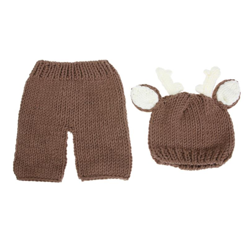 2pcs/set Winter Newborn Photography Props Warm Baby Crochet Cartoon Deer Costume Set Knitted Baby Hat Pants Cute Infant Clothes hot winter beanie knit crochet ski hat plicate baggy oversized slouch unisex cap