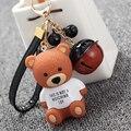 Teddy bear белл брелок мультфильм аниме брелок кольцо мальчик девушки подарки шарм женщины сумка подвеска брелок для ключа автомобиля держатель кольцо