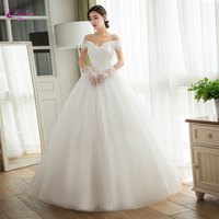 Waulizane Charming Tulle Off The Shoulder Ball Gown Wedding Dresses Ruched Pleats Boat Neck Lace Up