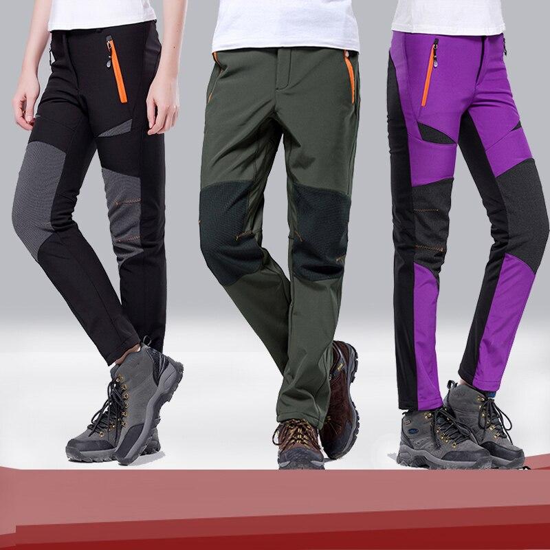 Brand 2018 Men Women Hiking Pants Outdoor Softshell Trousers Waterproof Pants Windproof Thermal Mountain Trekking Ski Pants