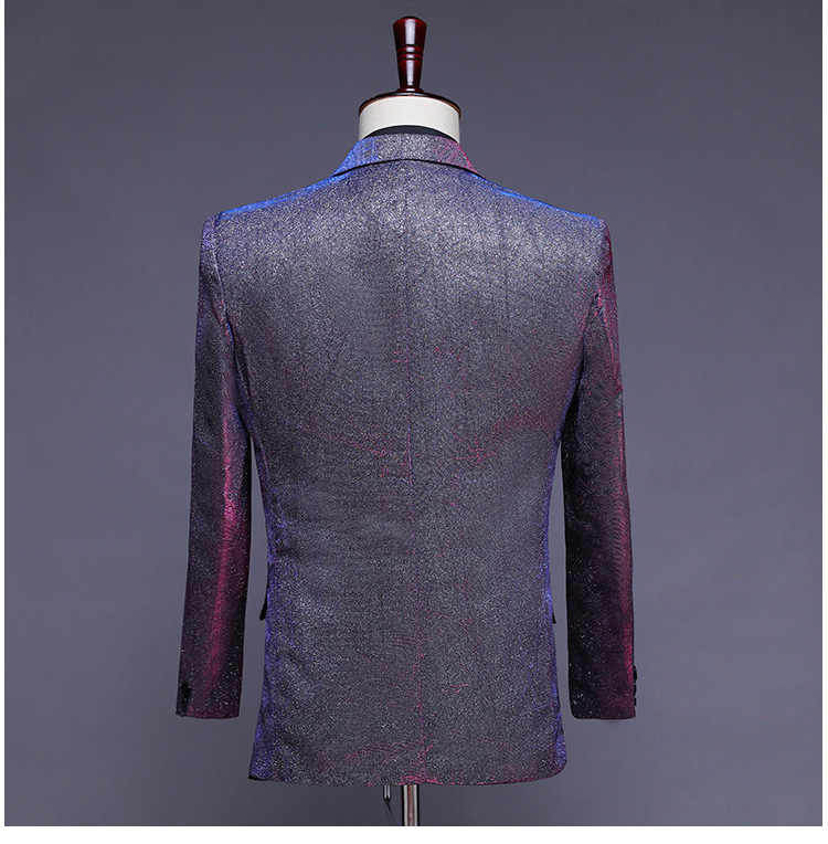 PYJTRL New Mens Fashion Shiny Changed Colorful 3 Pcs Set Suits Purple Gray Blue Wedding Groom Prom Dress Suits