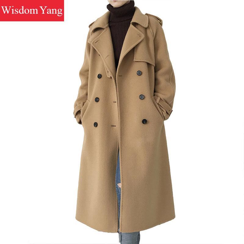 Elegant Winter Coat Camel Turndown Xlong Sheep Wool Korean Coats Women 2018 Female Woolen Overcoat Sashes Slim Lady Outerwear overcoat