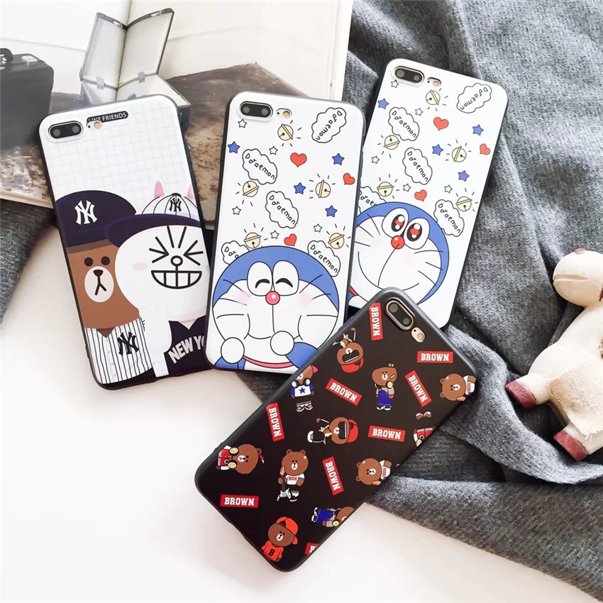 Fashion Cartoon Doraemon Cat Rabbit Bear Soft TPU Back Cover For iphone X 8 7 6s plus Silicone Ultra Thin Phone Case Shell
