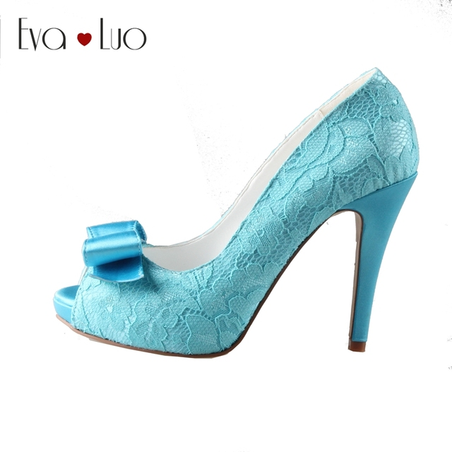 CHS333 DHL Express Custom Handmade Peep Toe Bow Blue Turquoise Lace Bridal  Wedding Shoes High Heel
