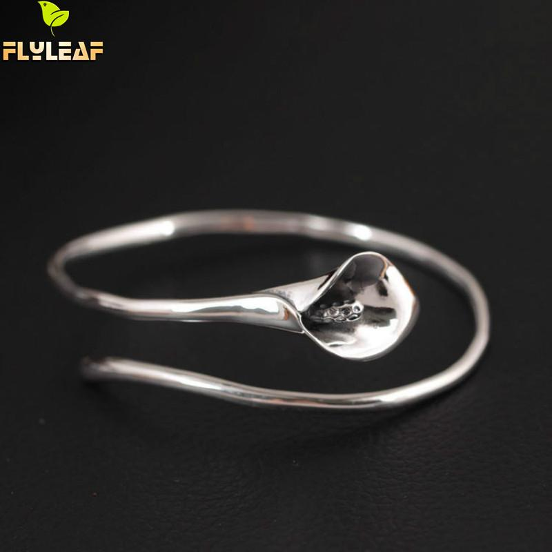 Flyleaf 925 Sterling Silver Vintage Calla Lily Flower open Bracelets & Bangles For Women Fashion Lady Sterling-silver-jewelry одежда больших размеров calla lily flower j1341 6 pu j1341 6