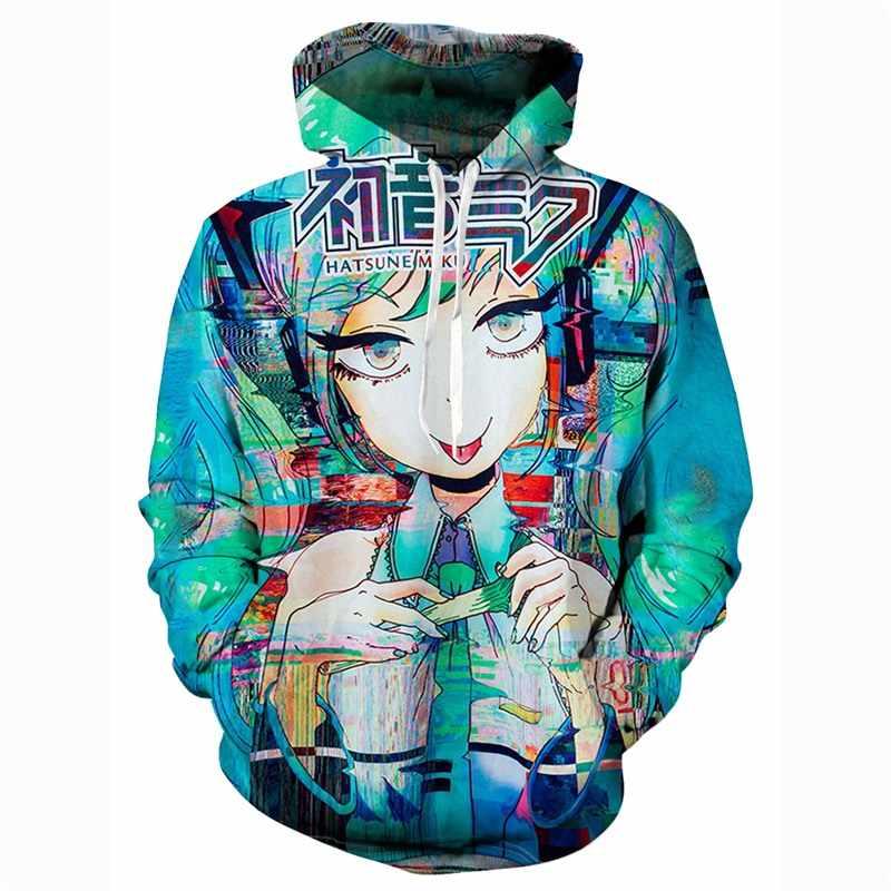 Новейшие толстовки с капюшоном с 3D принтом Hatsune Miku, толстовки с капюшоном, модные брендовые мужские повседневные пуловеры для мальчиков, большие размеры 7XL