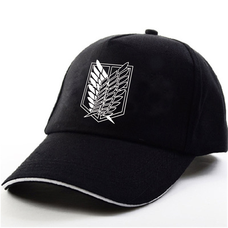 YOUPOP KPOP Attack on Titan Logo Black Baseball Cap Hip-hop Cap Men Women Hats 7 x 7mm x 16mm black cap push button tactile tact switch lock 6 pin dip