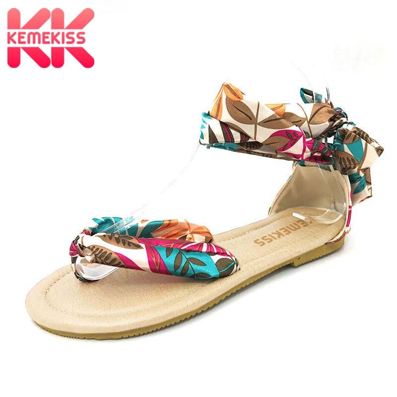836b14f240c Big size 34-43 T strap colorful Beach flat heel sandals shoes women Summer  Sandals Ribbon Sweet Ladies Leisure shoes PA00246