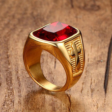 Мужское кольцо с крестом золотого цвета из нержавеющей стали качественное кольцо с красным камнем для мужчин Utr8234