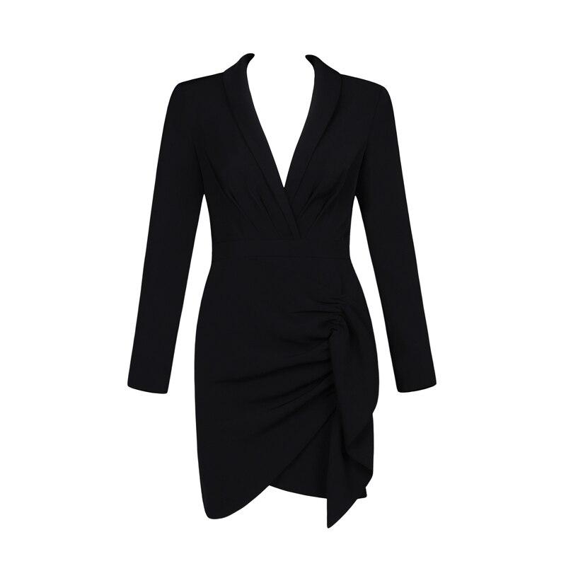 2019 Nouveautés Défilé De Mode Collection Noir Cool Satin Femmes Mini Robe Pour Cocktail Party Outfit Date Robe En Gros - 2