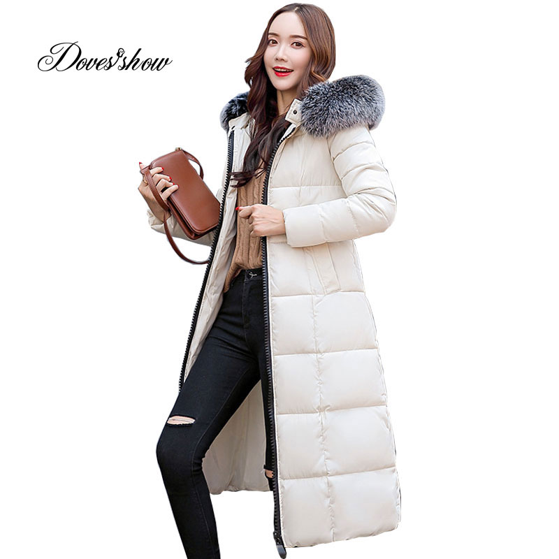 Hooded Winter Down Coat Jacket Long Warm Slim Women Cotton padded Casaco Feminino Abrigos Mujer Invierno