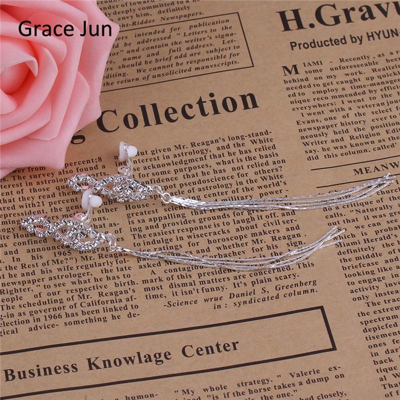 Grace Jun New Tassels Arrival Vathë Clip Rhinestone Veshmbathje Jo - Bizhuteri të modës - Foto 6