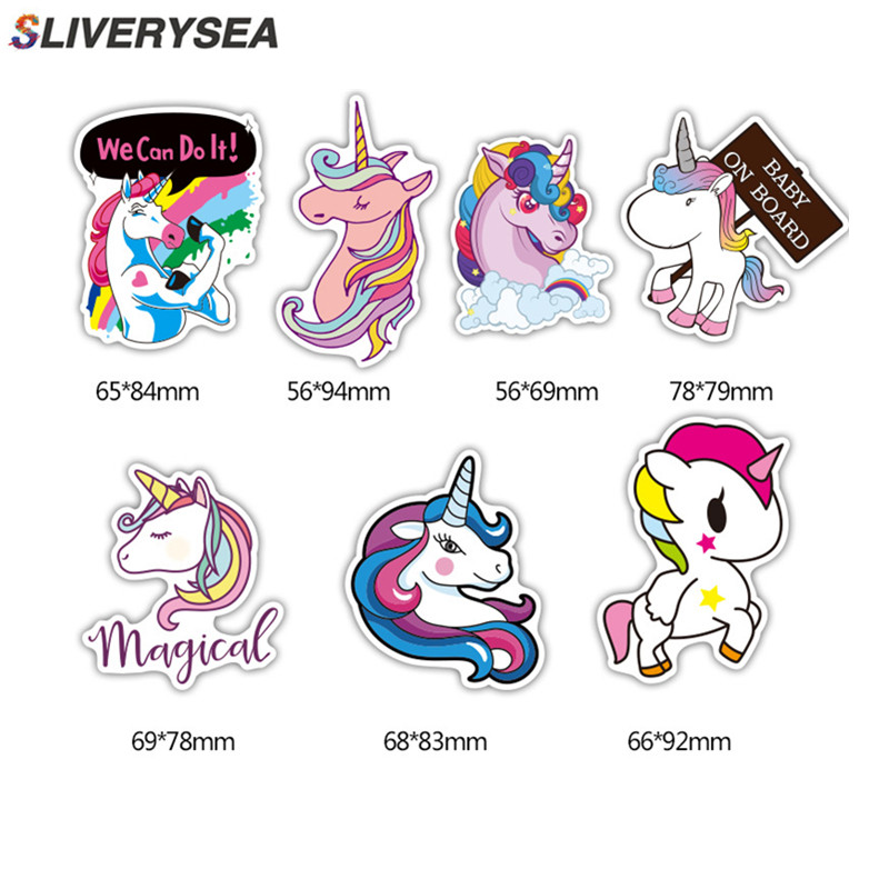 7Pcs Multi Color Unicorn Car Sticker Waterproof Cartoon Horse For Computer Personalized Suitcase Notebook Car Stickers #B1312-in Car Stickers from Automobiles & Motorcycles