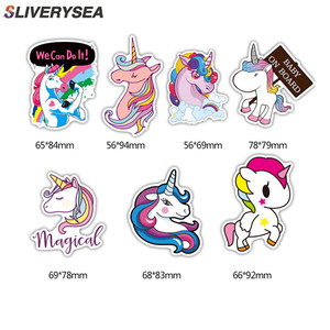 Image 1 - 7Pcs Multi Color Unicorn Car Sticker Waterproof Cartoon Horse For Computer Personalized Suitcase Notebook Car Stickers #B1312