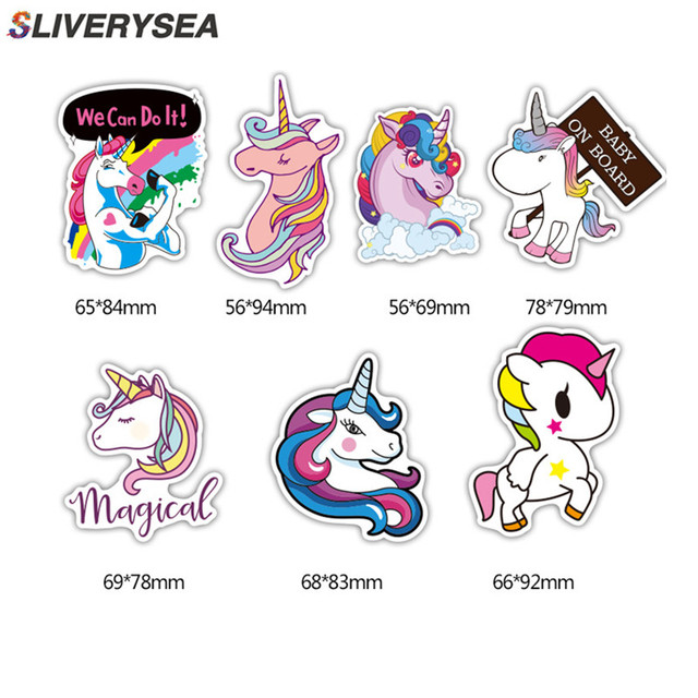 7Pcs Multi Color Unicorn Car Sticker Waterproof Cartoon Horse For Computer Personalized Suitcase Notebook Car Stickers #B1312