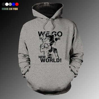 2017 New Anime One Piece Men Pullover Hoodie Funny Fleeces Luffy We Go To Bone New World Printed Sweatshirt Cool Casual Tops