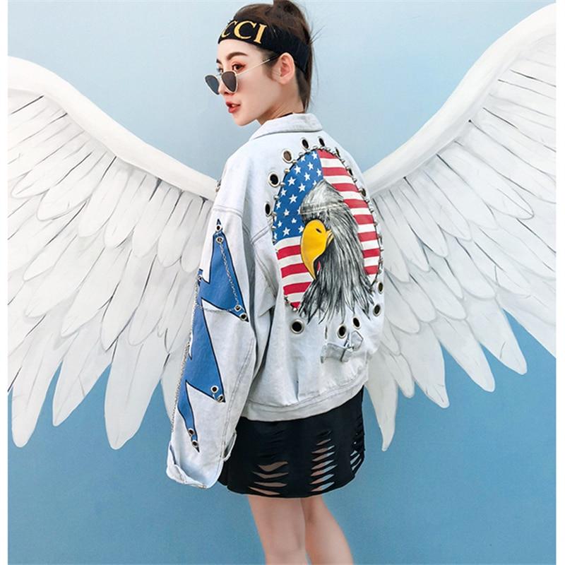 Mélangées La Taille Plus Aigle Nouveau Impression Lâche Lx106 Light Rue Veste Femmes Blue Chaîne Femme Printemps Manteaux Jeans 2018 Denim Couleurs nO7BYY