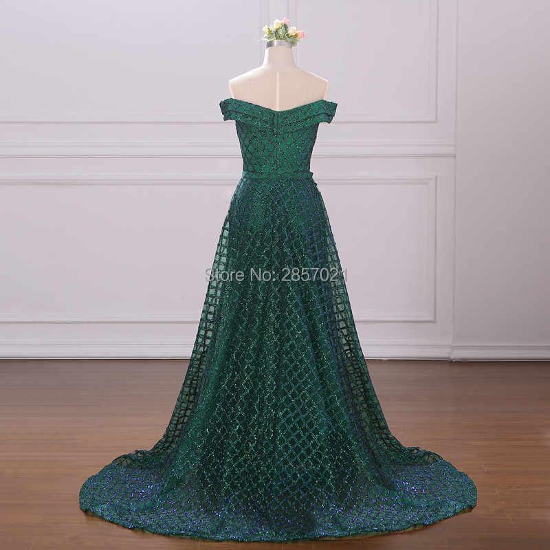 Зеленые Длинные Сексуальные вечерние платья Русалочки со съемным шлейфом без рукавов уникальная ткань с блестками платья для выпускного вечера