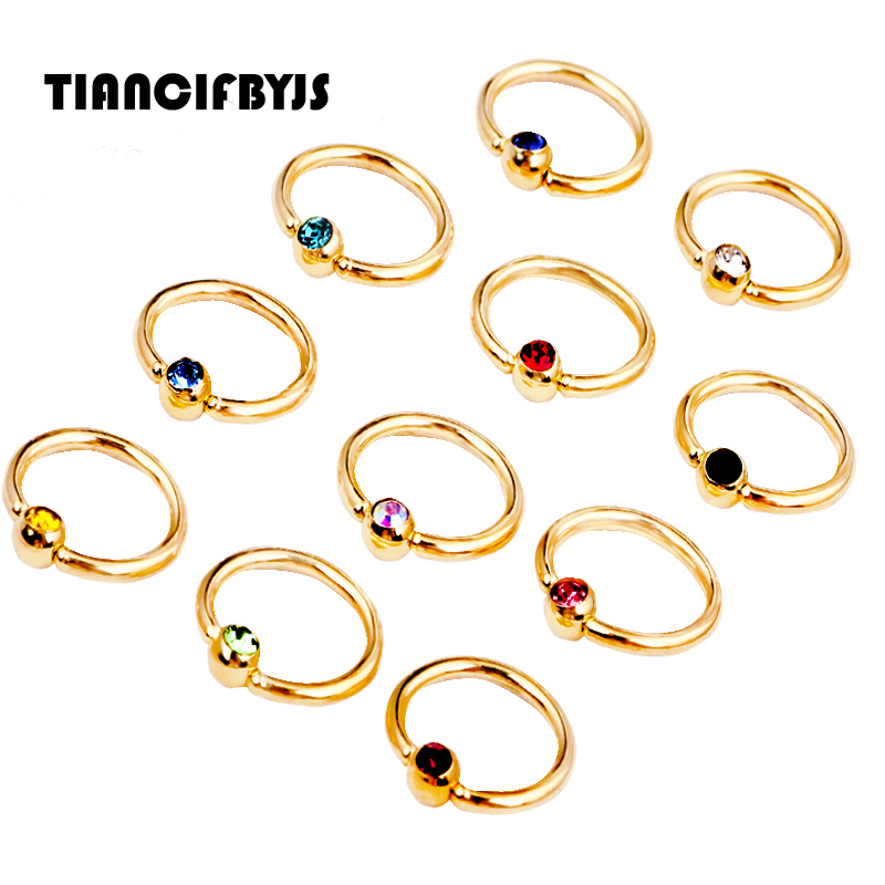 Pated Titanium Gold Nose Ring Captive Ball Rings CBR BCR Earrings Piercings 16G body jewelry wholesales